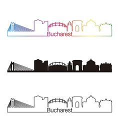 Bucharest skyline linear style with rainbow vector