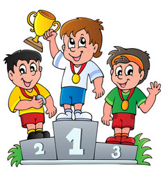 cartoon winners podium vector image