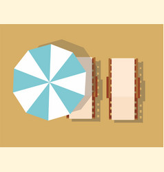 Chaise lounge and umbrella summer vacation vector