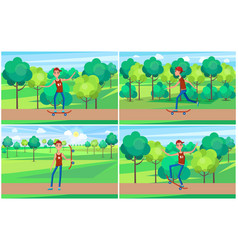 cheerful skater in green summer park color banner vector image