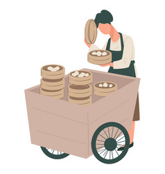 chinese cuisine seller with homemade dumplings on vector image