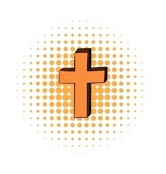 Christian cross comics icon vector image