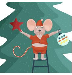 Christmas mouse cartoon vector