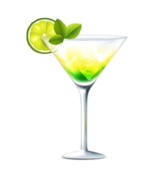 Cocktail with lime vector