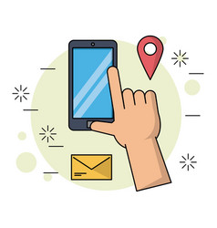 Color background with smartphone and apps map vector