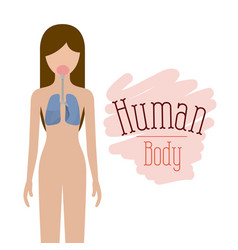 colorful silhouette female person with respiratory vector image