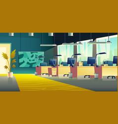 coworking office hall cartoon interior vector image