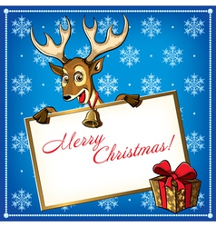 Cristmas deer card 2 vector image