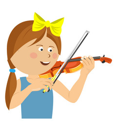 cute little girl with string playing violin vector image