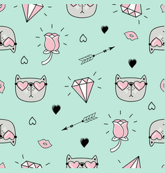 Cute seamless pattern with cat hearts and love vector