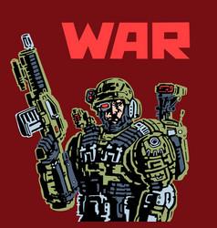 Cyborg soldier future vector
