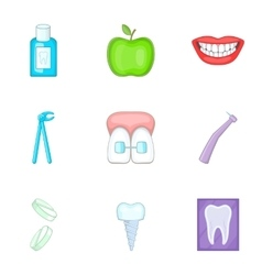 Dental tooth doctor icons set cartoon style vector
