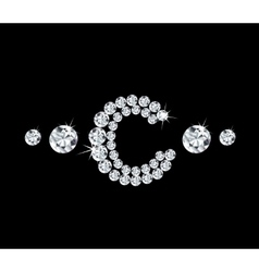 Diamond alphabetic letter C vector image