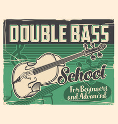 Double bass playing school retro poster vector
