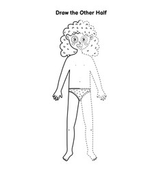 Draw other half educational game for kids dot vector