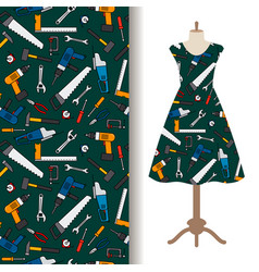 dress fabric pattern with construction tools vector image
