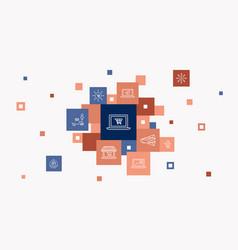 Ecommerce infographic 10 steps pixel design vector