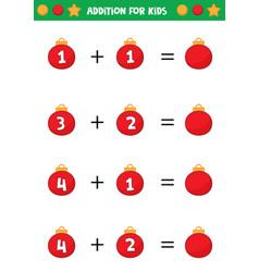 Educational worksheet for preschool kids addition vector