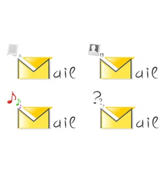email attachment icons vector image