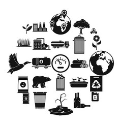 Enviroment protection icons set simple style vector
