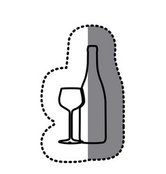 Figure wine bottle with glass icon vector