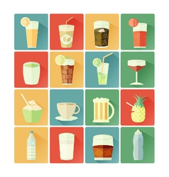 flat icons beverage vector image