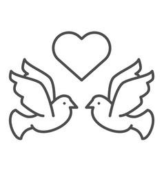 flying pigeons with heart thin line icon love vector image