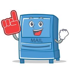 foam finger mailbox character cartoon style vector image