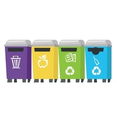 Four colored recycling bins vector image