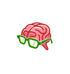 Geek glasses brain mind logo vector