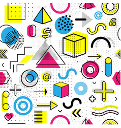 Geometric memphis seamless isolated pattern for vector