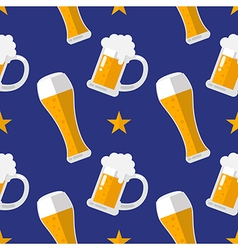 Glass of beer flat seamless pattern vector