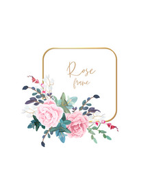 Gold frame with pale roses eucalyptus leaves and vector