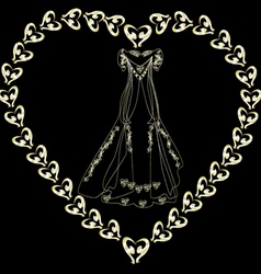 Gold wedding dress in the loop vector