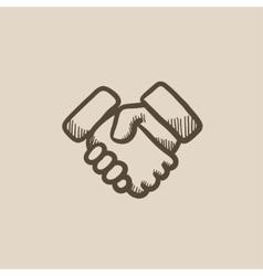 Handshake sketch icon vector image