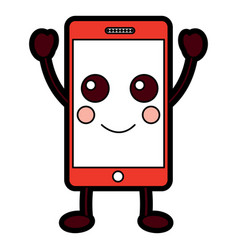 happy cellphone kawaii icon image vector image