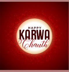 Happy karwa chauth decorative moon background vector