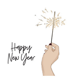 happy new year sketch with hand holding bengal vector image
