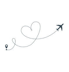 Heart airplane route icon airplane flight vector