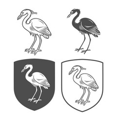 Heraldic shields with crane vector