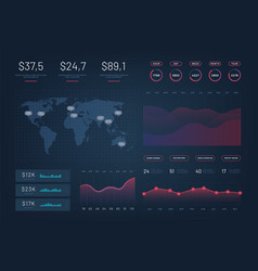 Hud dashboard infographic template with modern vector