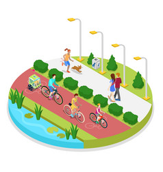 Isometric city park composition with running woman vector
