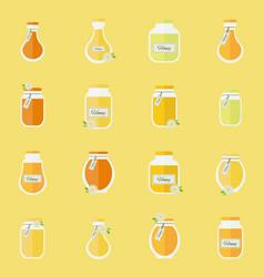 Jars honey seamless background vector