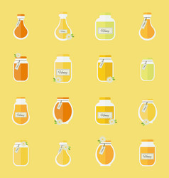 Jars of honey seamless backgrond vector