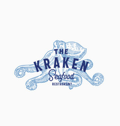 kraken seafood and fish restaurant abstract vector image