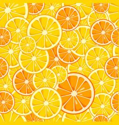 lemon and orange slices seamless pattern vector image