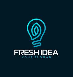 light bulb leaf logo design vector image
