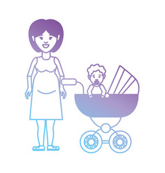 Line mother with her daugther inside stroller vector