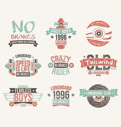 Longboard club emblems vector