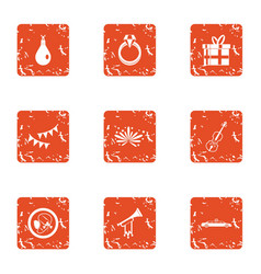 Love talent icons set grunge style vector